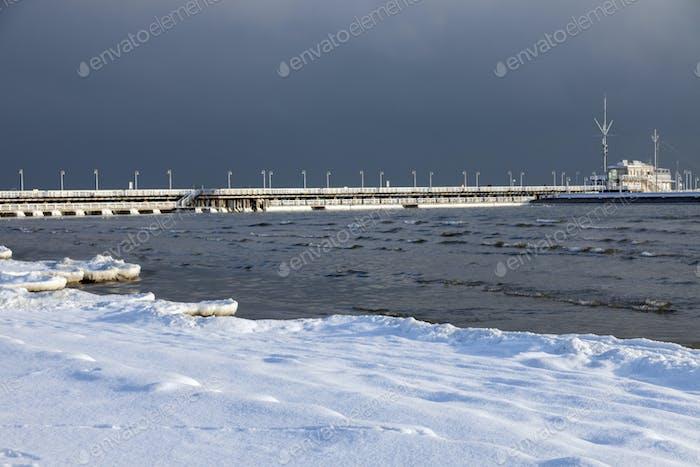 Sopot pier in winter scenery