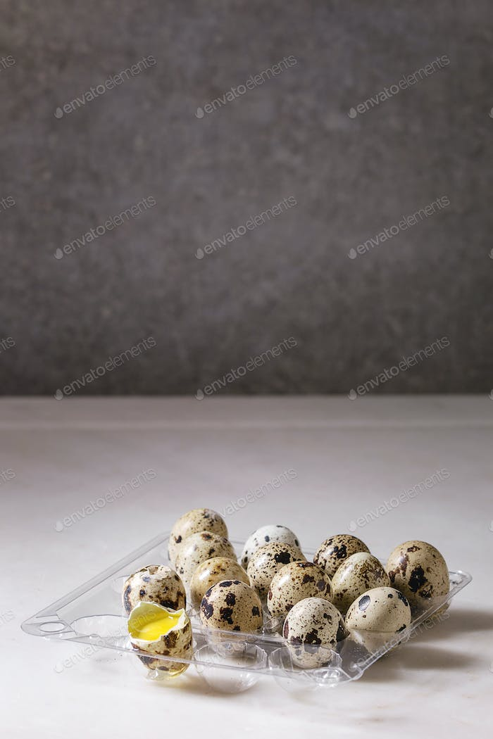 Quail eggs in plastic boxing