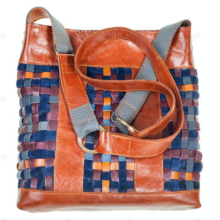 bag sewn from intertwined leather strips isolated