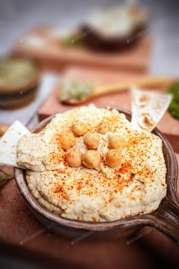 Close up of hummus