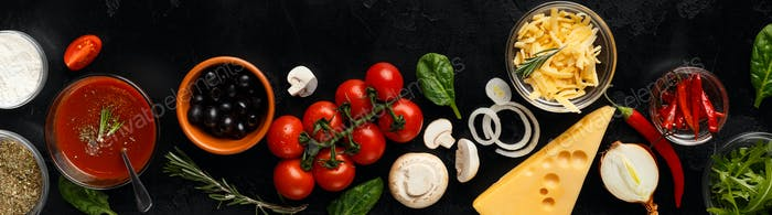 Pizza cooking ingredients, vegetables and cheese, top view