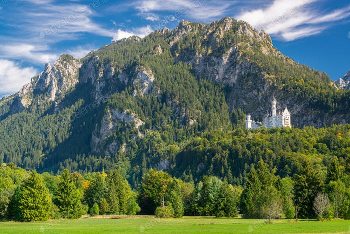 Neuschwanstein Castle in the Bavarian Alps of Germany