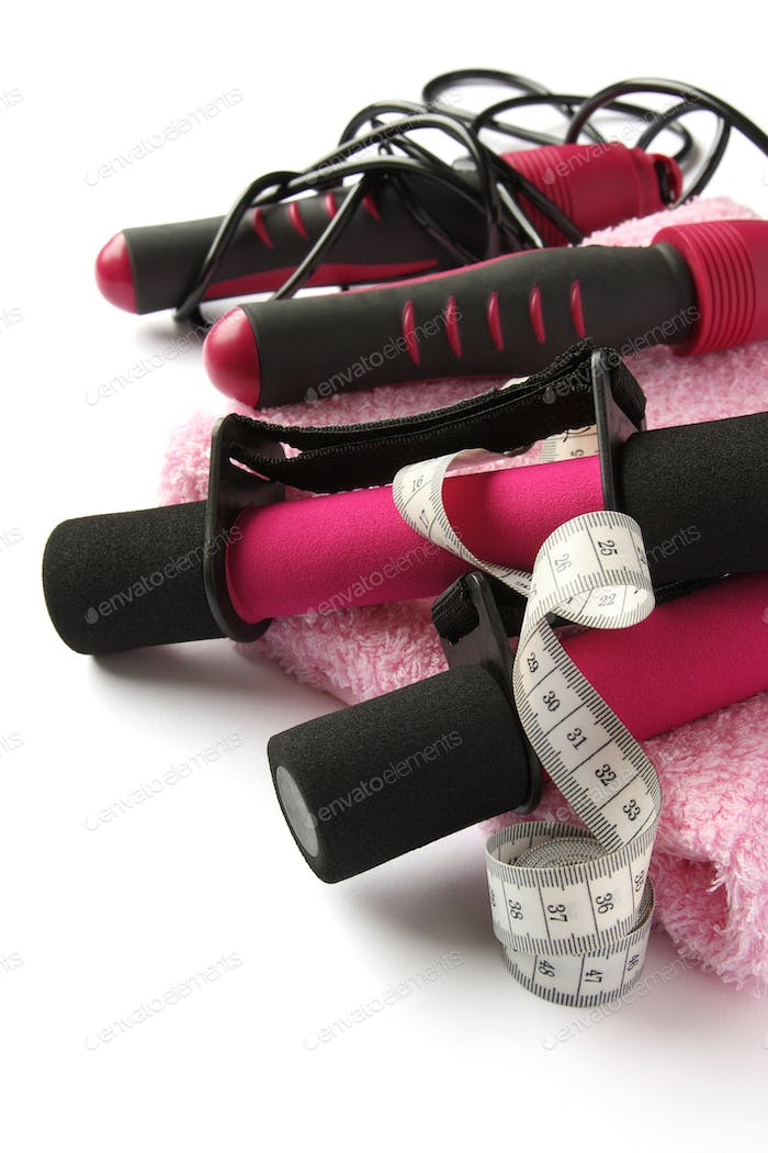 Dumbbell with handle, measuring tape, towel and skipping rope