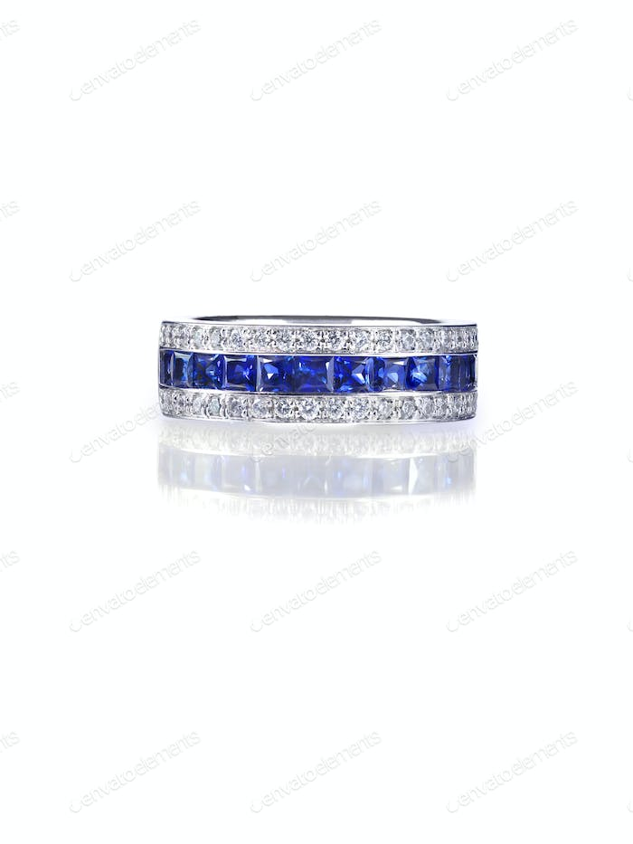 Blue diamond and Gemstone anniversary bridal wedding Ring