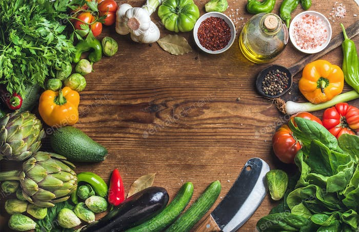 Fresh raw ingredients for healthy cooking or salad making with copy space