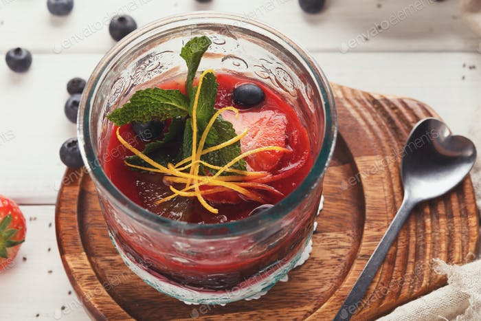 Chia pudding with berries, healthy restaurant dessert