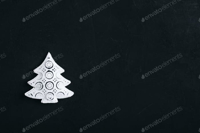 Christmas background with white metal christmas tree