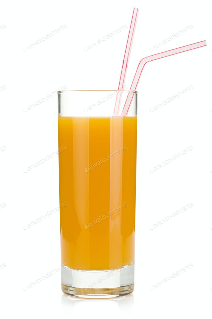 Peach juice in a glass