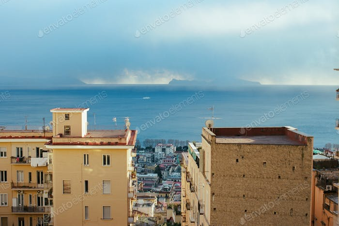 Sea and Naples coast with houses, Italy