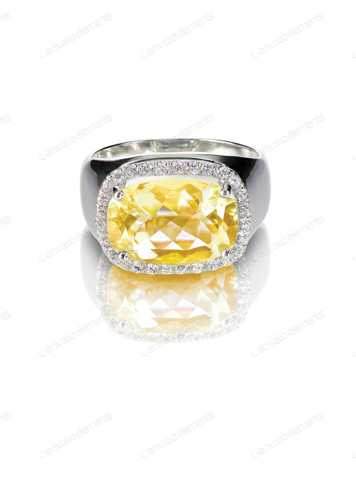 gelb diamantfarben Verlobungsring Topas Citrin