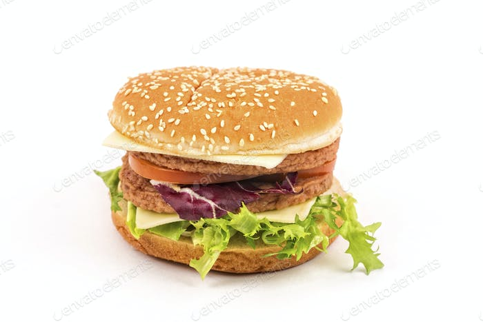 Hamburger on a white background