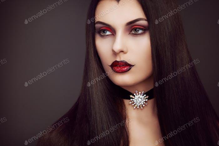Halloween vampire woman portrait