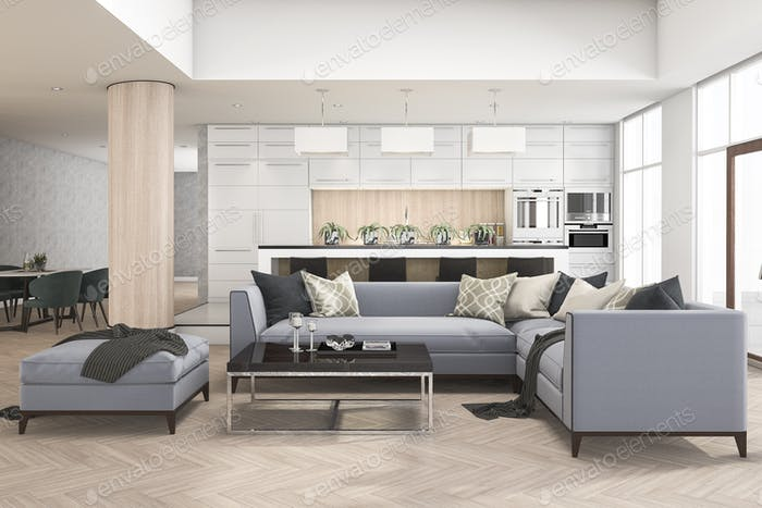 l3d rendering set of sofa in living room near kitchen bar and bar stool