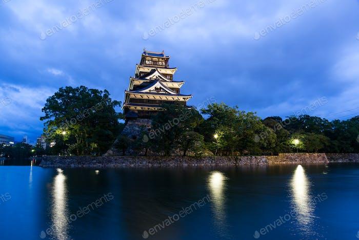 Hiroshima castle in Japan at night