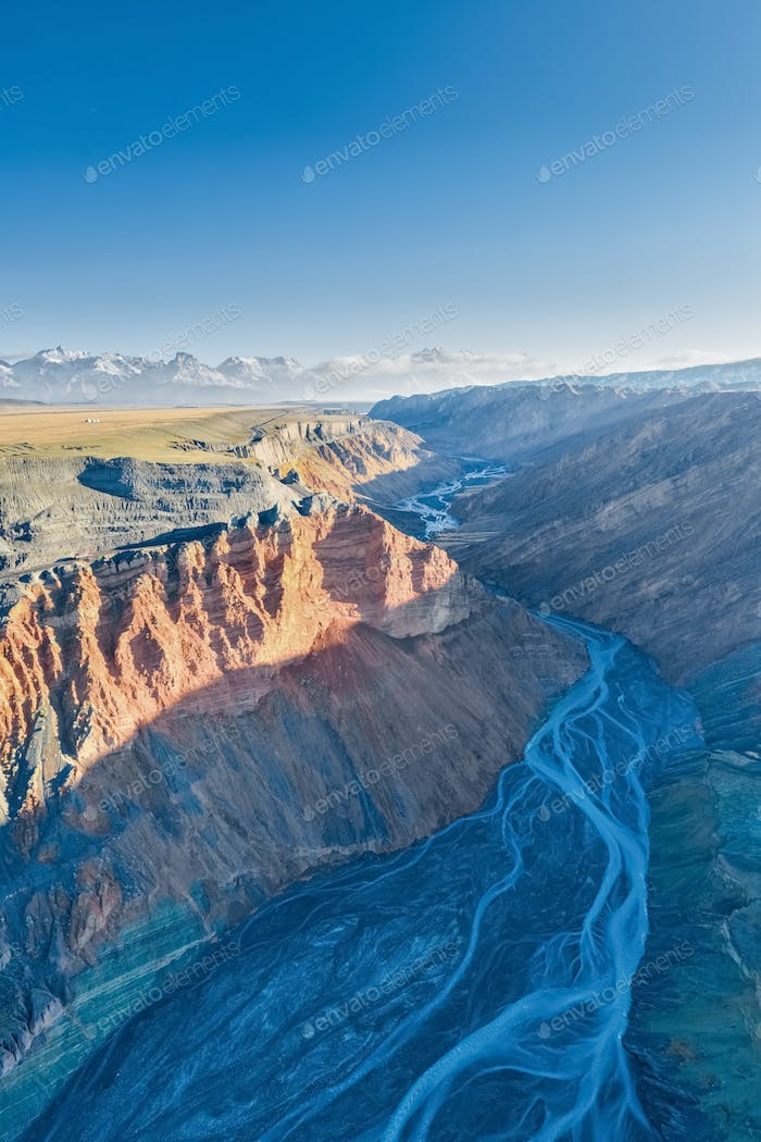 aerial view of beautiful canyon landscape in xinjiang