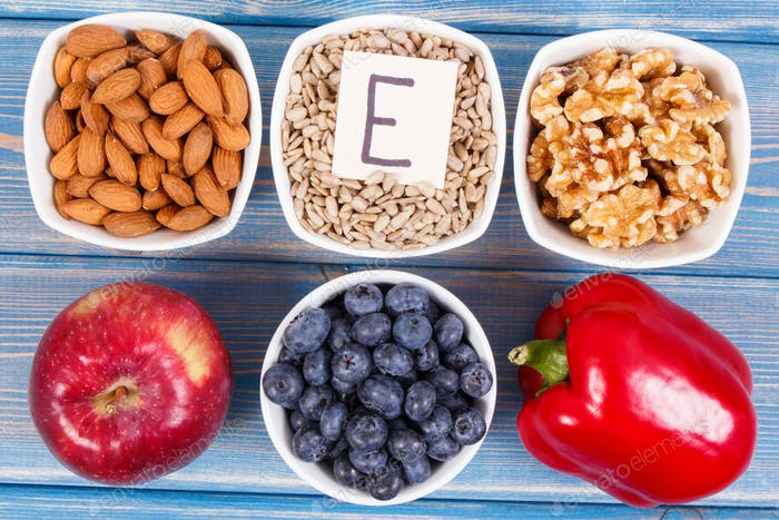 Food containing vitamin E, minerals and dietary fiber, healthy nutrition