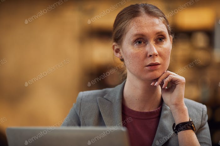 Woman thinking over new ideas