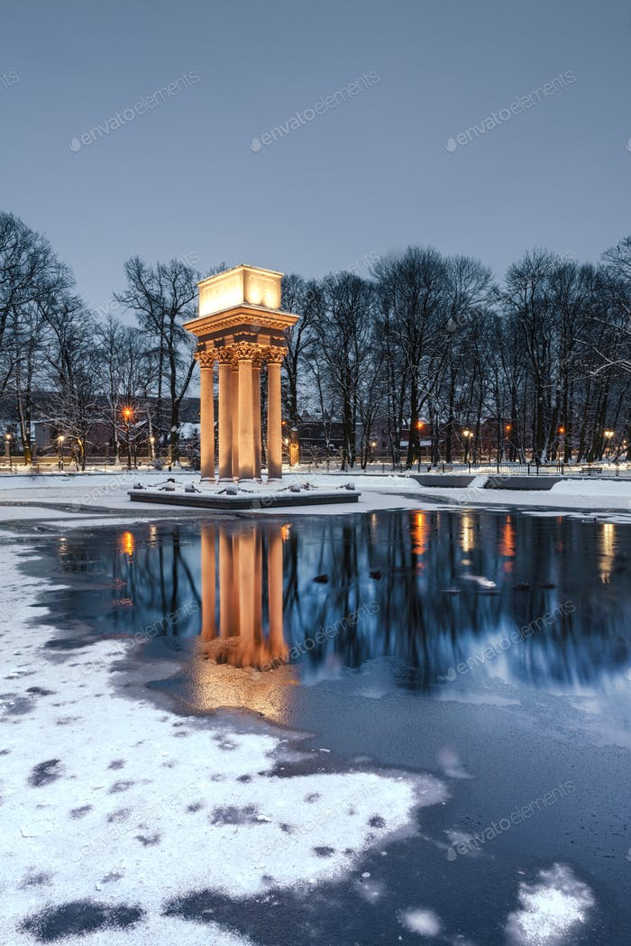 Snow in City Park in Tarnow, Lesser Poland. Mausoleum of General Jozef Bem Polish and Hungarian Hero