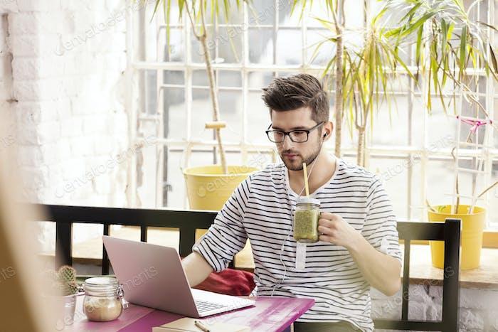 Hipster working as freelancer