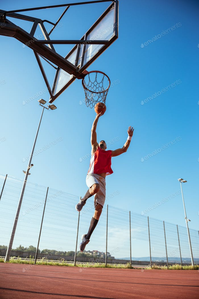 Training basketball outdoors