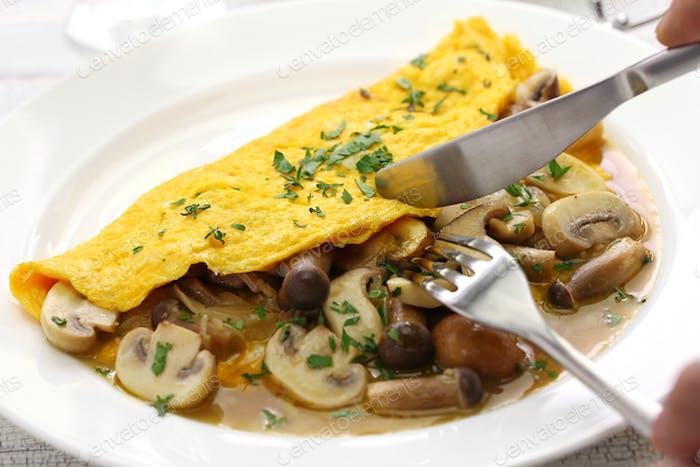 fresh homemade mushroom omelette