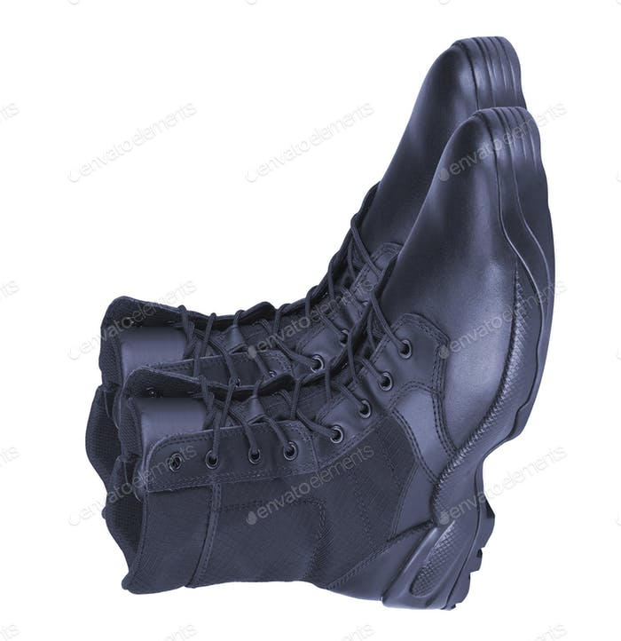 Leather Army Boots isolated