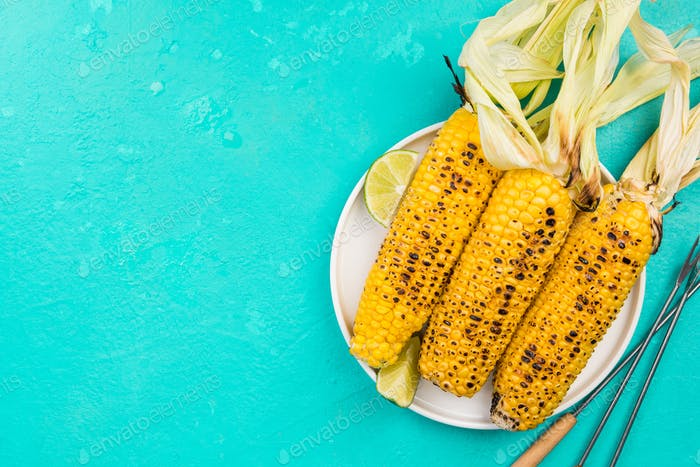 Grilled Whole Corn on Cob with Husk, Top View, Copy Space
