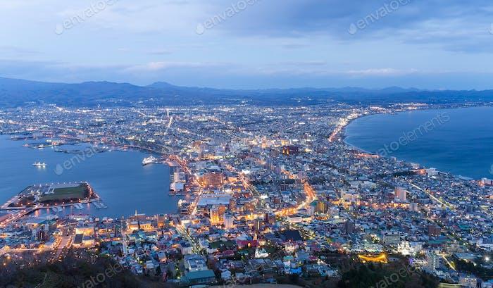 Hakodate City at evening