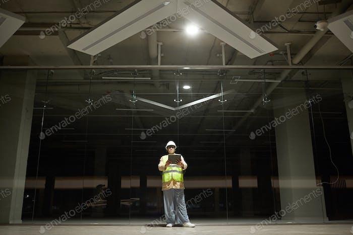 Female Engineer at Underground Parking