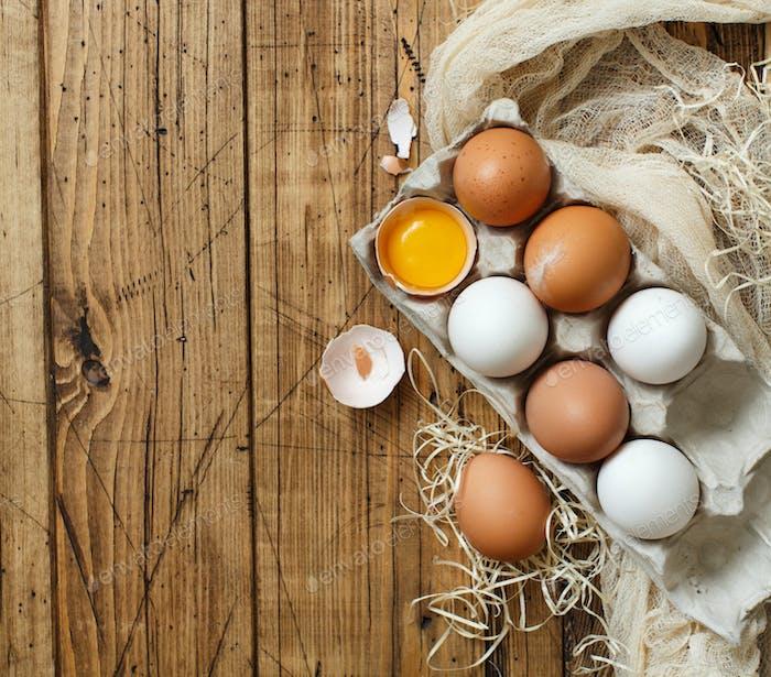 Сhicken eggs top view