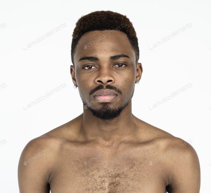 Topless black guy studio portrait