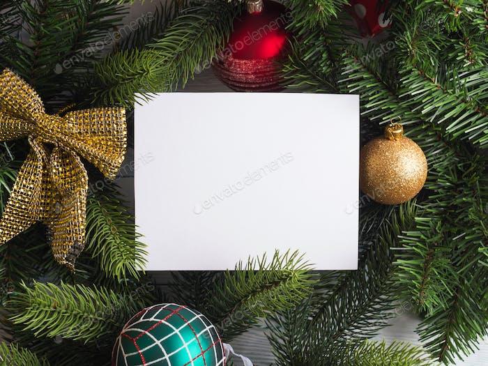 Christmas holidays empty white greeting card