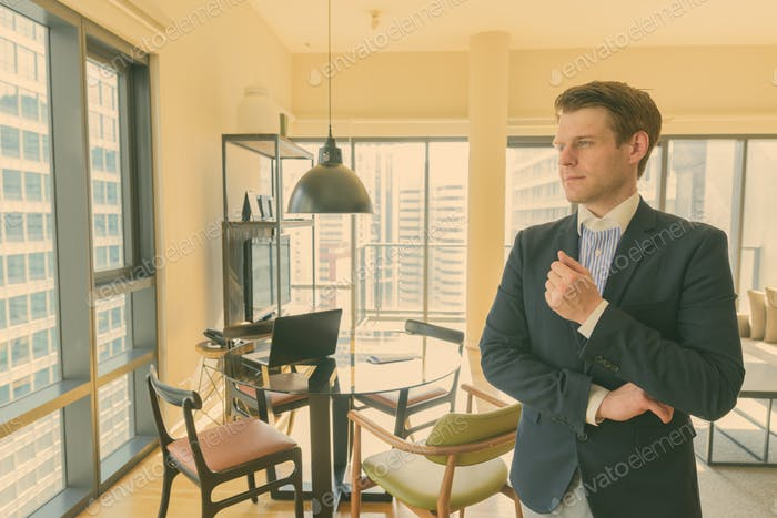 Young handsome businessman relaxing in the living room