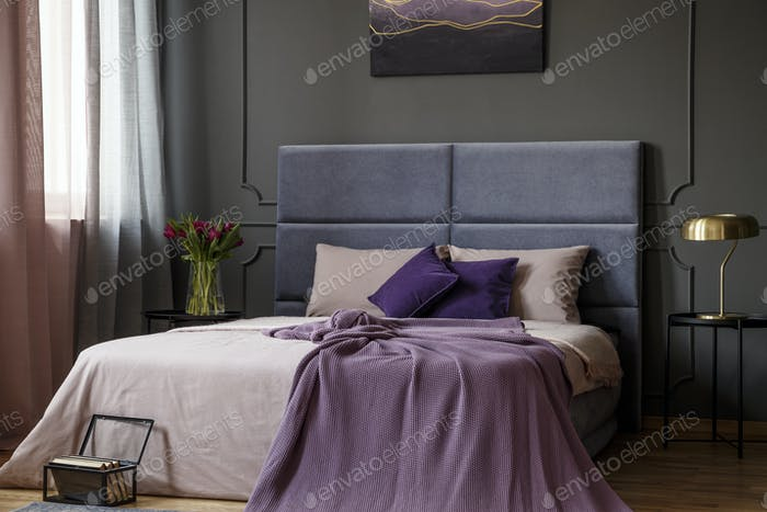 Violet feminine bedroom interior