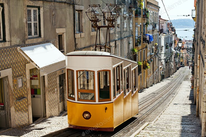 Yellow funicular in Lisbon. Portugal.