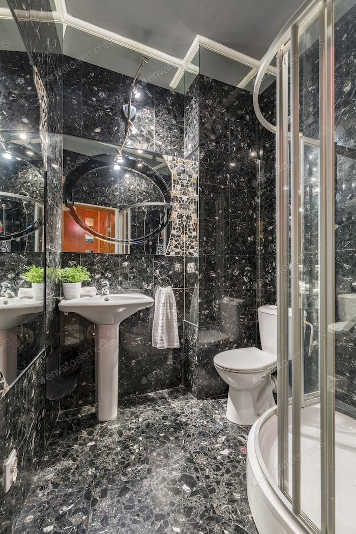 Grey marble bathroom with shower