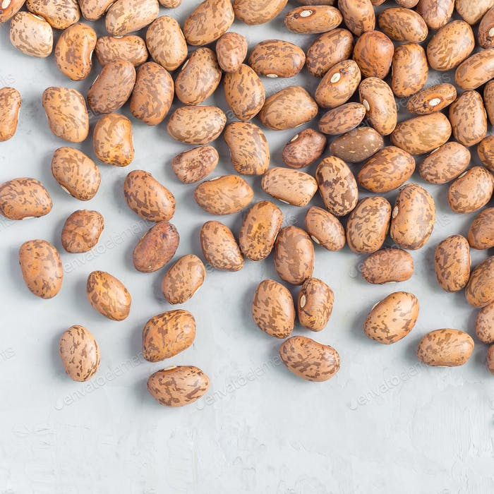 Uncooked dry pinto beans on gray concrete background, top view, square