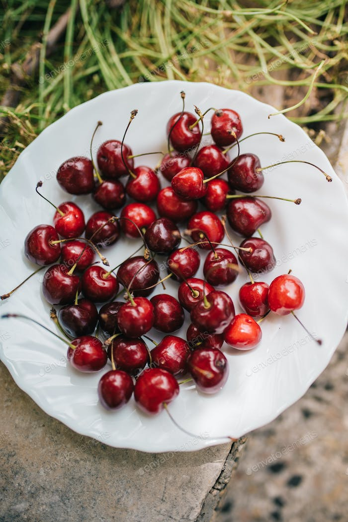 Group od delicious fresh cherries
