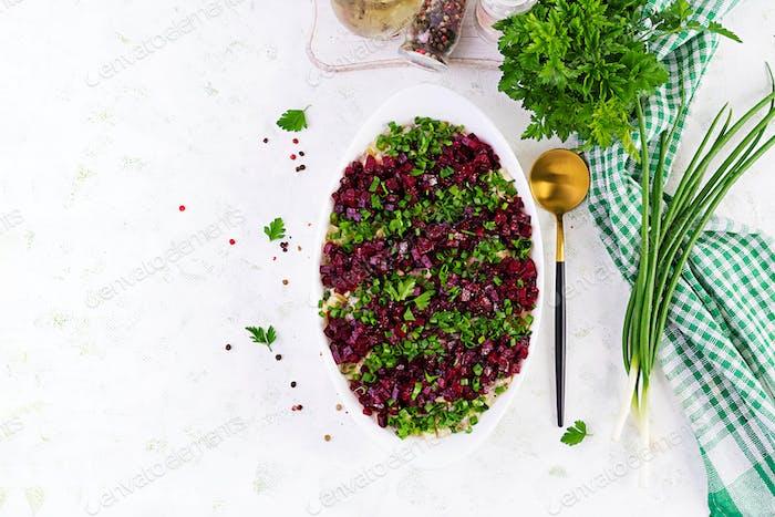 Kosher food, jewish salad.