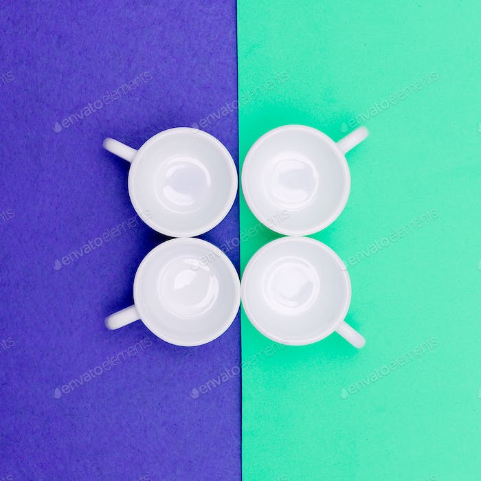 Set of coffee cups. Minimal art