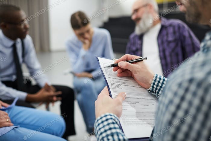 Closeup of Psychologist in Support Group