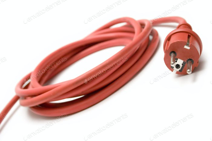Red Extension Cable Isolated on a White Background