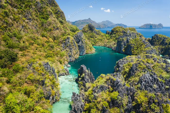El Nido, Palawan, Philippines, aerial view of beautiful big lagoon and jungle overgrown limestone