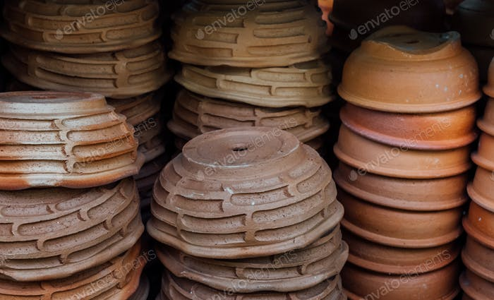 stack of clay pot in gardening shop