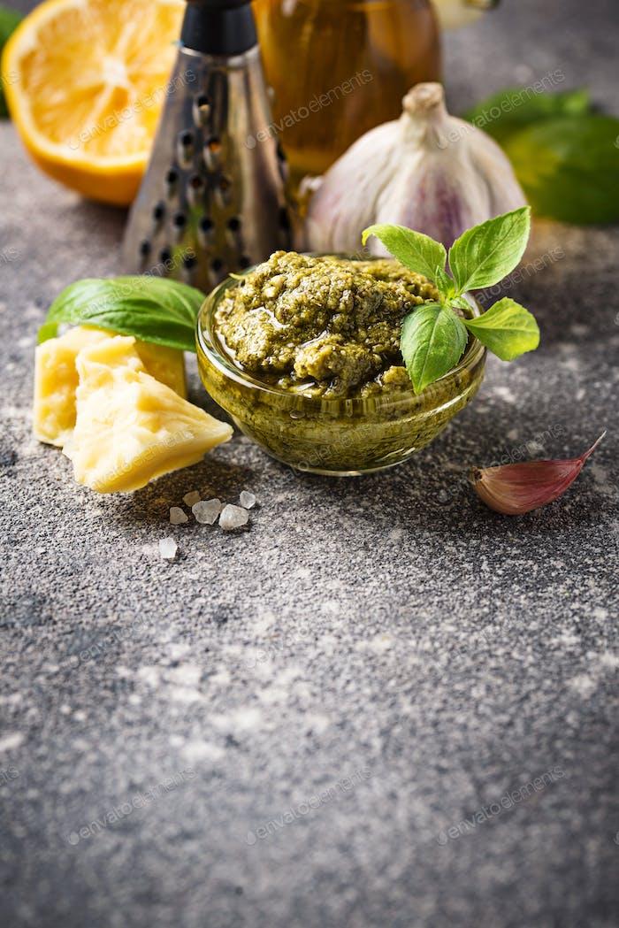 Homemade traditional Italian pesto sauce