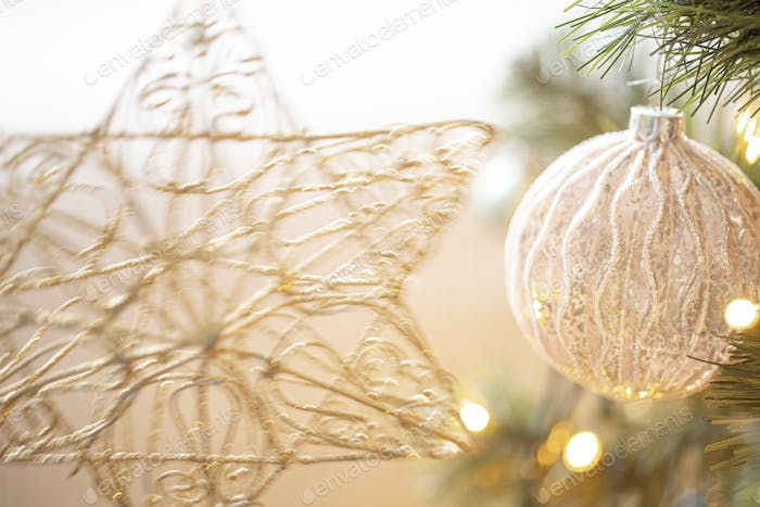 Christmas tree toys background . The concept of the celebration.