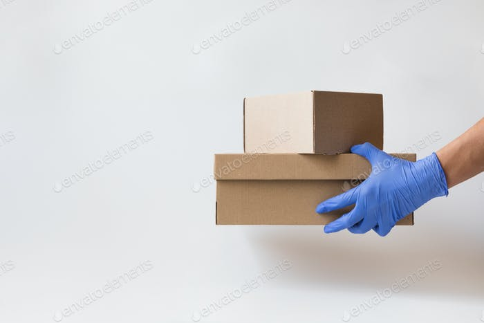 Concept of safe package delivery against Coronavirus 2019-nCov in a pandemic.