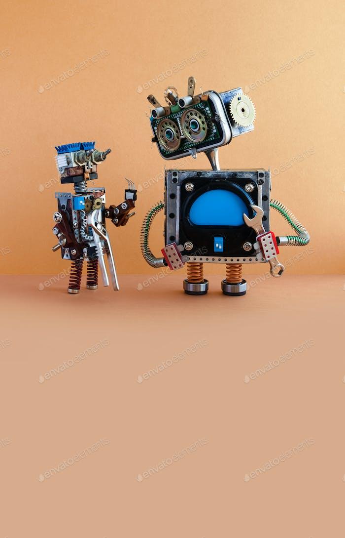 Robots automation maintenance service concept.