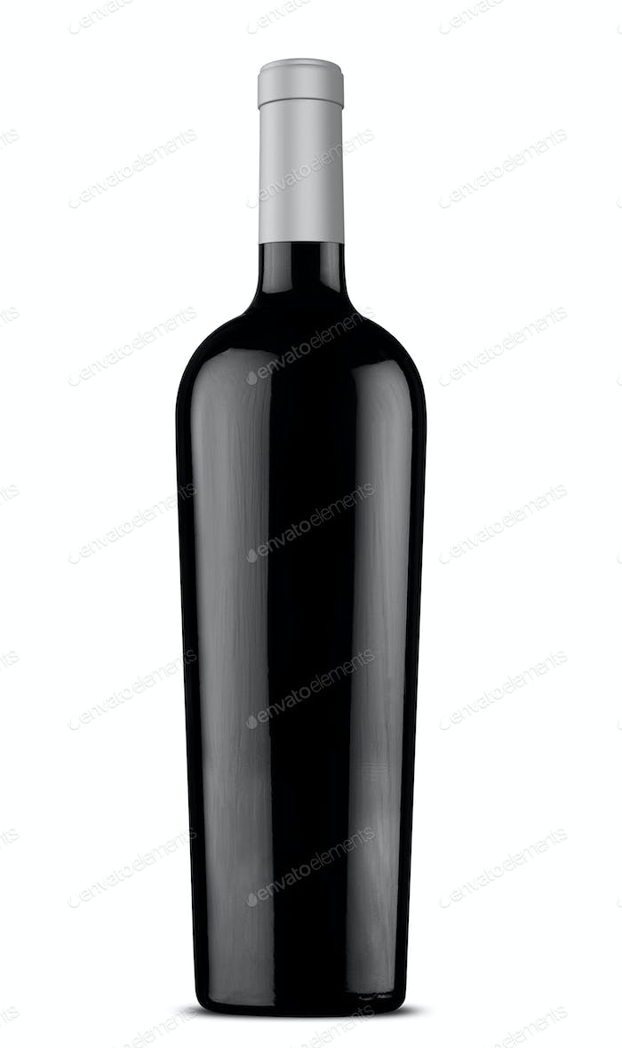 3d illustration black wine bottle with silver cap