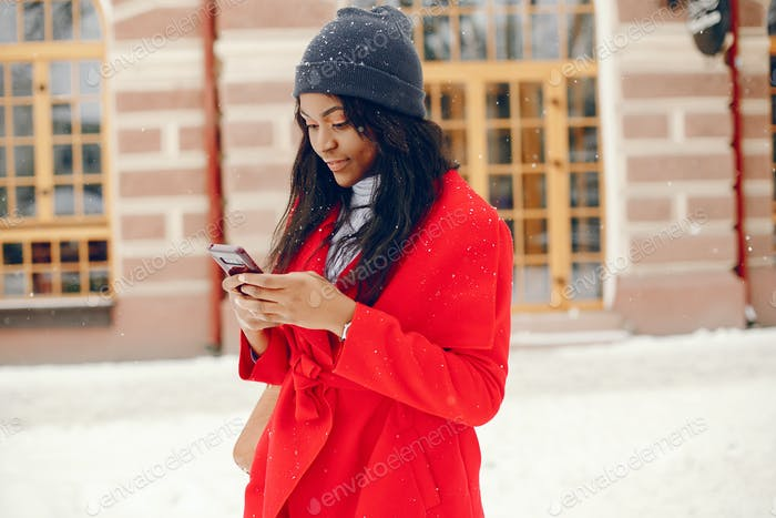 pretty black girl in winter